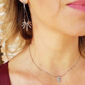 Conjunto de plata pendientes-collar