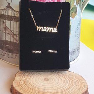 """Conjunto de acero pendientes-collar """"Mamá"""""""