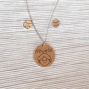 """Conjunto de acero pendientes-collar  """"Abuela"""""""