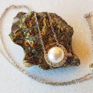 Collar de plata circonita y perla